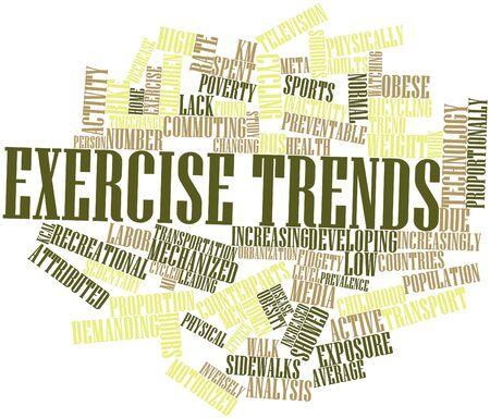 obesidad infantil: Nube de palabras Resumen de las tendencias de ejercicio con etiquetas y términos relacionados