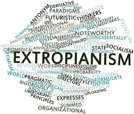 entropy: Abstract word cloud for Extropianism with related tags and terms Stock Photo