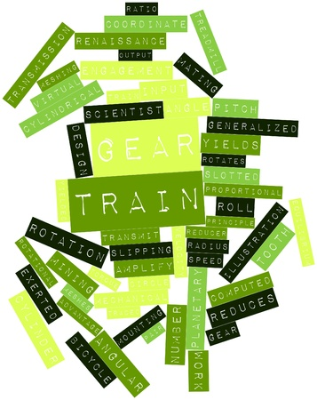 reduces: Abstract word cloud for Gear train with related tags and terms Stock Photo