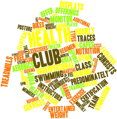 yoga class: Abstract word cloud for Health club with related tags and terms Stock Photo