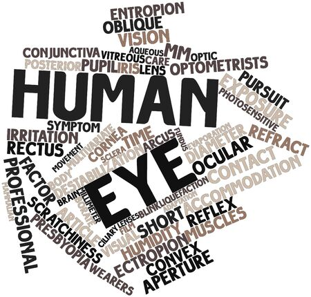 vitreous body: Abstract word cloud for Human eye with related tags and terms