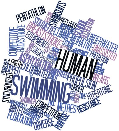 statuette: Abstract word cloud for Human swimming with related tags and terms