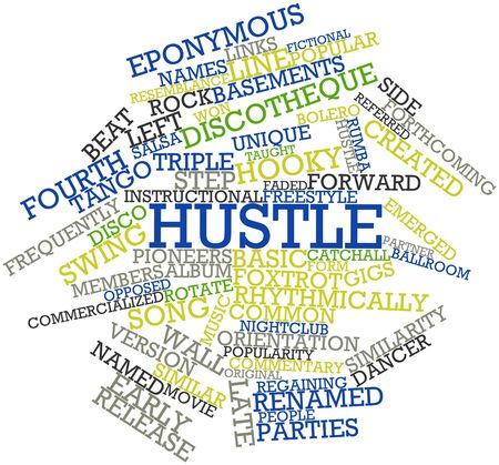 eponymous: Abstract word cloud for Hustle with related tags and terms