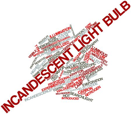 approximately: Abstract word cloud for Incandescent light bulb with related tags and terms Stock Photo
