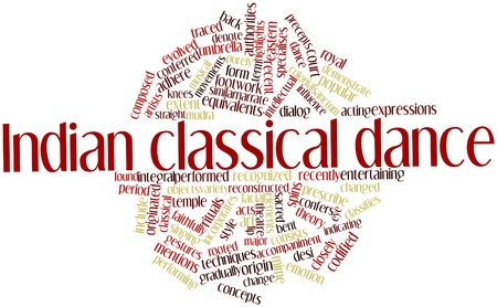 incorporates: Abstract word cloud for Indian classical dance with related tags and terms