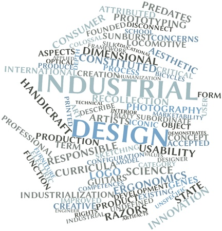 competences: Abstract word cloud for Industrial design with related tags and terms Stock Photo