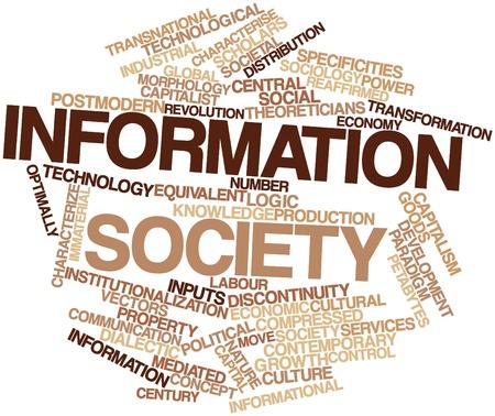 characterize: Nube palabra abstracta para la sociedad de la informaci�n con las etiquetas y t�rminos relacionados