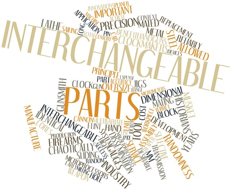ideally: Abstract word cloud for Interchangeable parts with related tags and terms Stock Photo