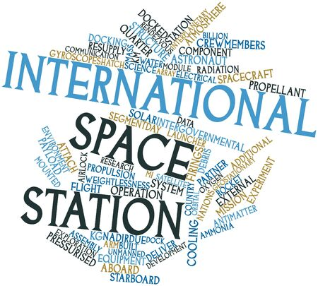 docking: Abstract word cloud for International Space Station with related tags and terms Stock Photo