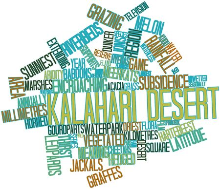 Abstract word cloud for Kalahari Desert with related tags and terms photo