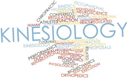 terapia ocupacional: Nube palabra abstracta para Kinesiología con etiquetas y términos relacionados Foto de archivo
