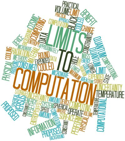 quantum: Abstract word cloud for Limits to computation with related tags and terms Stock Photo