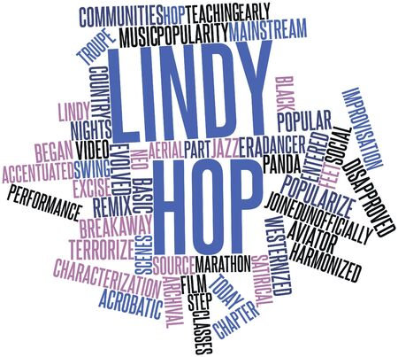 evolved: Abstract word cloud for Lindy Hop with related tags and terms Stock Photo