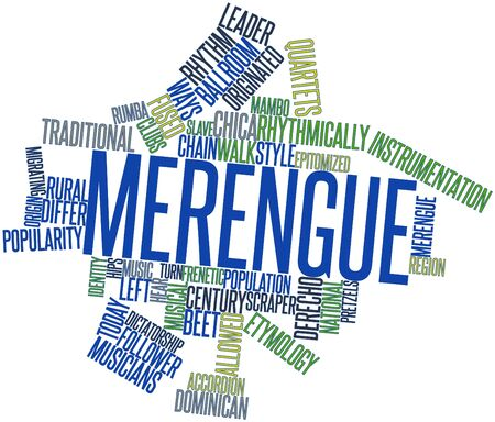 dubious: Abstract word cloud for Merengue with related tags and terms Stock Photo