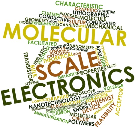 vaporized: Abstract word cloud for Molecular scale electronics with related tags and terms Stock Photo
