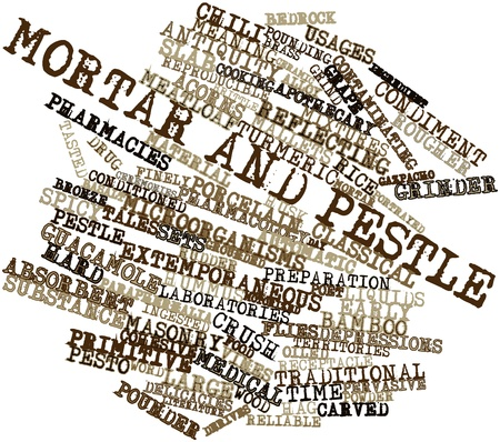 bedrock: Abstract word cloud for Mortar and pestle with related tags and terms