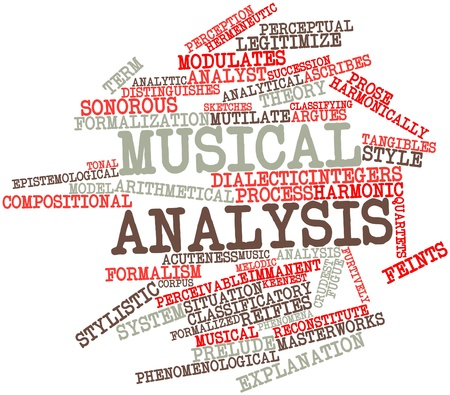critique: Abstract word cloud for Musical analysis with related tags and terms