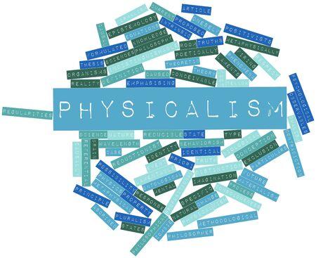dualism: Nube palabra abstracta para fisicalismo con etiquetas y t�rminos relacionados Foto de archivo