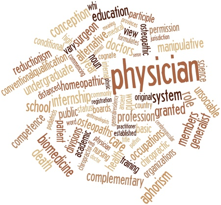 noun: Abstract word cloud for Physician with related tags and terms