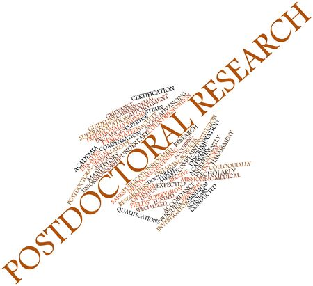 funded: Abstract word cloud for Postdoctoral research with related tags and terms Stock Photo