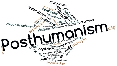 humanismo: Nube palabra abstracta para posthumanismo con etiquetas y términos relacionados
