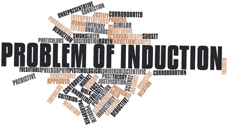 infer: Abstract word cloud for Problem of induction with related tags and terms Stock Photo