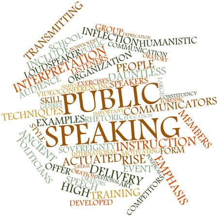nonviolent: Abstract word cloud for Public speaking with related tags and terms Stock Photo