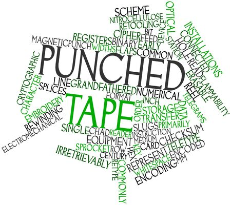 continuously: Abstract word cloud for Punched tape with related tags and terms