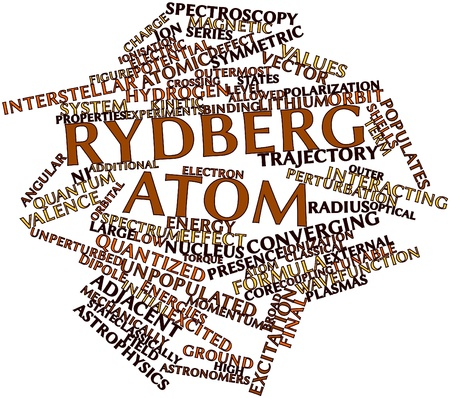 finite: Abstract word cloud for Rydberg atom with related tags and terms Stock Photo