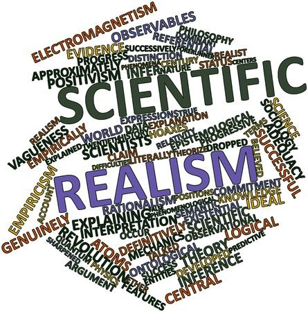 observational: Nube palabra abstracta para el realismo cient�fico con las etiquetas y t�rminos relacionados