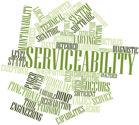 maintainability: Abstract word cloud for Serviceability with related tags and terms