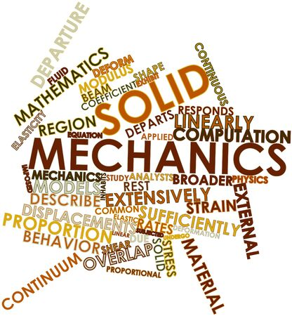 elasticity: Abstract word cloud for Solid mechanics with related tags and terms