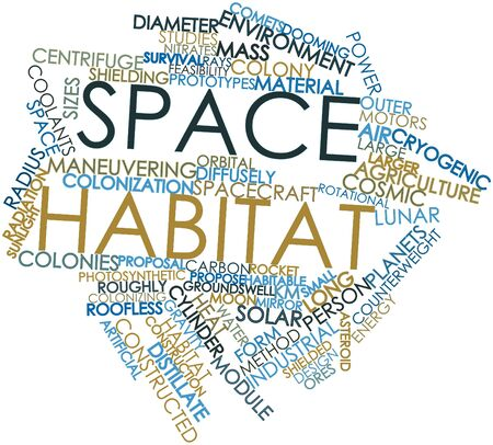 hostile: Abstract word cloud for Space habitat with related tags and terms Stock Photo