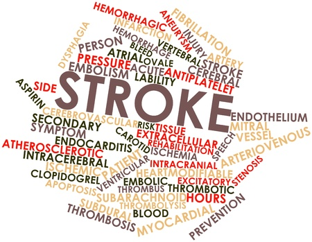 apoptosis: Nube palabra abstracta para Stroke con etiquetas y t�rminos relacionados