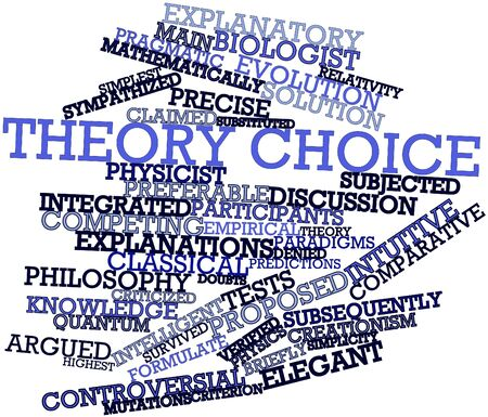 explanatory: Abstract word cloud for Theory choice with related tags and terms