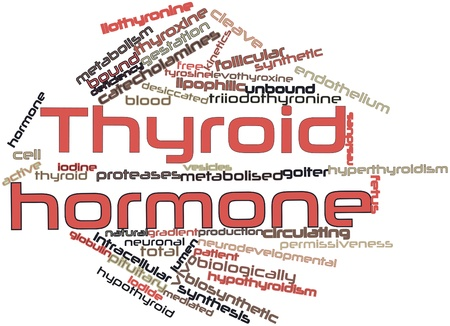 Abstract word cloud for Thyroid hormone with related tags and terms Stock Photo
