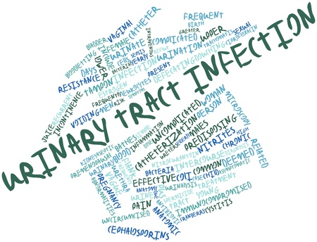 Abstract word cloud for Urinary tract infection with related tags and terms Stock Photo