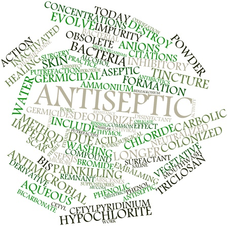 mucosa: Abstract word cloud for Antiseptic with related tags and terms