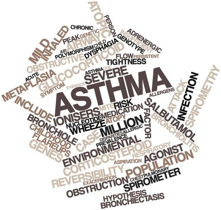 asthma: Abstract word cloud for Asthma with related tags and terms Stock Photo
