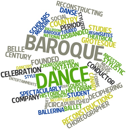 minuet: Abstract word cloud for Baroque dance with related tags and terms
