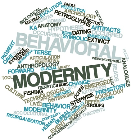 Abstract word cloud for Behavioral modernity with related tags and terms