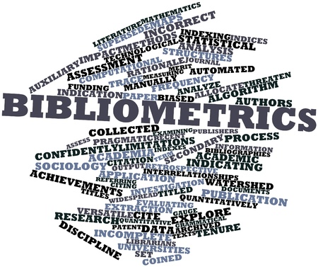coined: Abstract word cloud for Bibliometrics with related tags and terms Stock Photo