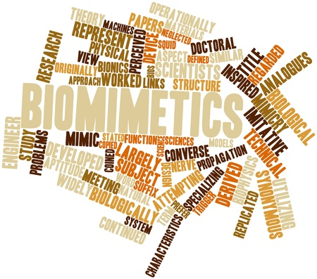Abstract word cloud for Biomimetics with related tags and terms