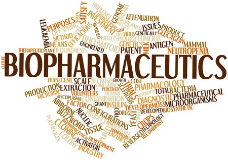 genetically engineered: Abstract word cloud for Biopharmaceutics with related tags and terms Stock Photo