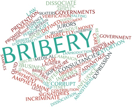 jurors: Abstract word cloud for Bribery with related tags and terms Stock Photo