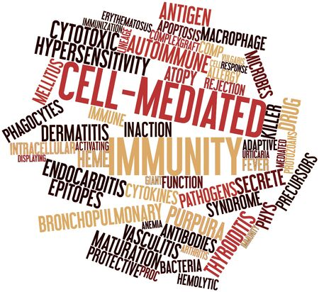 secrete: Abstract word cloud for Cell-mediated immunity with related tags and terms Stock Photo