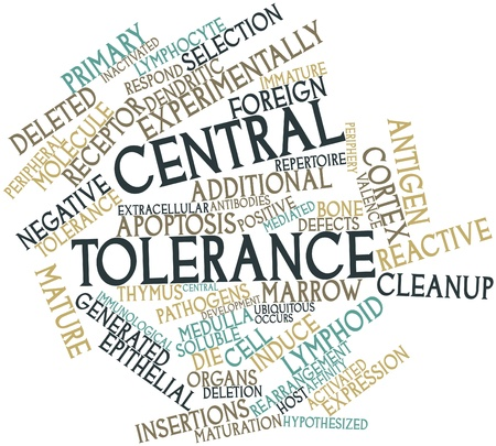 repertoire: Abstract word cloud for Central tolerance with related tags and terms
