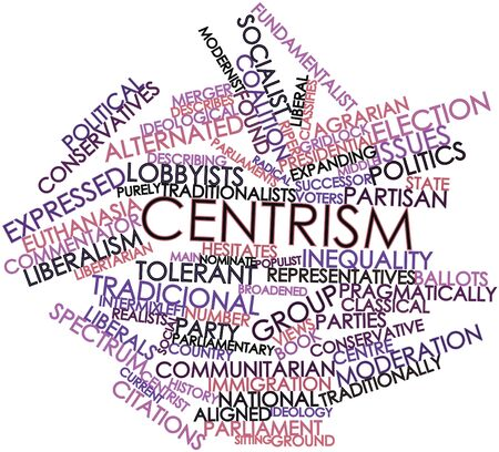 populist: Abstract word cloud for Centrism with related tags and terms