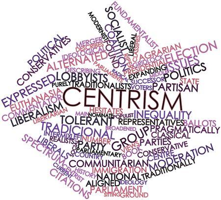 parliaments: Word cloud astratto per il centrismo con tag correlati e termini