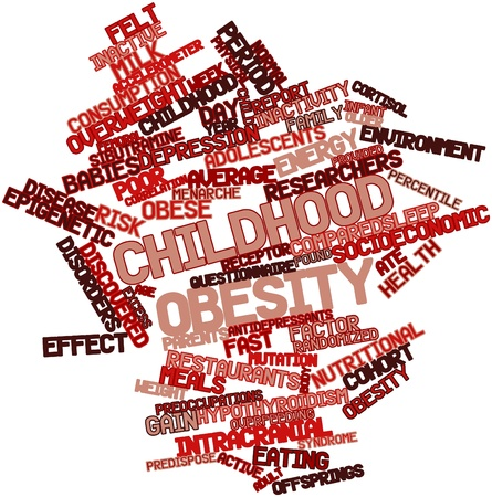 obesidad infantil: Nube de palabras Resumen de la obesidad infantil con etiquetas y t�rminos relacionados Foto de archivo